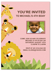 Boys Animals Clip Art Birthday Invitation Design