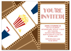 Movie Night Party Birthday Invitation Examples