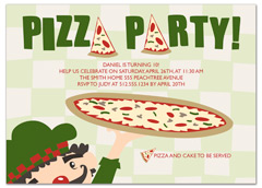 Pizza Cake Ice Cream Birthday Invitation Examples