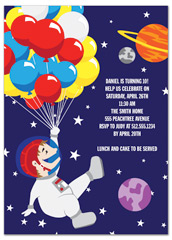 Space Planet Astronaut Birthday Invitation Ideas
