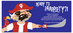 Pirates Costume Theme Birthday Invitation Samples