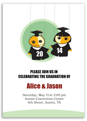 Twin Boy Girl 5th Grade Graduation Invitation Design