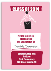 Pink Girl Elementary Graduation Invitation Example