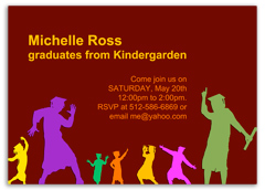 Colorful Kids Children Graduation Party Invitation