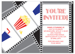Popcorn Movies Microsoft Word Birthday Invitation