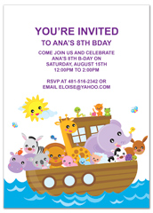 Horse Zebra Frog Boat Personalized Birthday Invitation