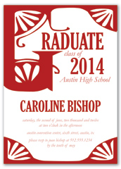 Red White Graduation Personalized Graduation Invitation