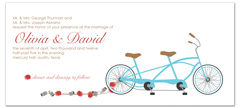Cans Behind Bike Design Personalized Wedding Invitation