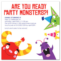 Kids Party Monster Printable Birthday Invitation